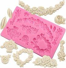 Mold Rose Cake Bordo Silicone Fiore Diy, Torta
