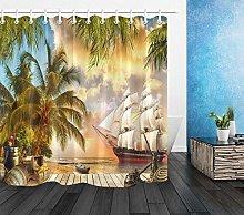 Molo marittimo nave pirata palma Tenda da doccia