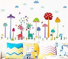 mondo dei funghi colorati giraffa adesivi murali