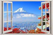 Montagna 3d vetrofania adesivo da parete arte