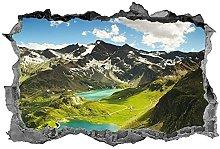 Montagna, fiume, adesivo, arte della parete,