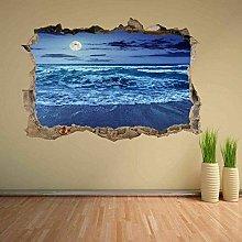 Moon Light Sea Wave Sandy Beach Wall Sticker