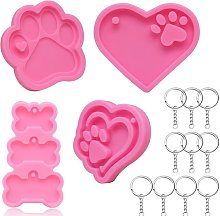 MOULLE RESIN 4 pezzi Keychain Form Dog Patte