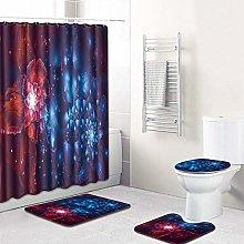 MQWEMJ Set di Tende da Doccia, Fiore Rosso Blu