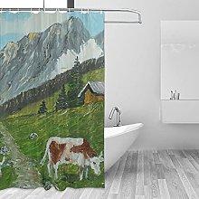 MRFSY - Tende da doccia con mucca, stile vintage,