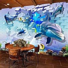 Msrahves Adesivi murali 3D Blu mare delfini mondo