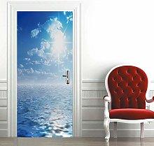 Msrahves Adesivi per Porte 3D Bel cielo azzurro
