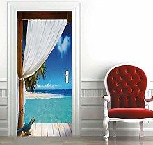 Msrahves Adesivo per Porte 3D Bella villa sulla