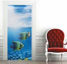 Msrahves Adesivo per Porte 3D Bellissimo pesce
