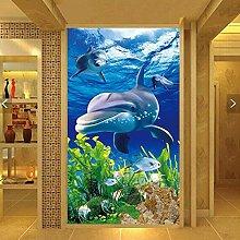 Msrahves Murale Carta Da Parati Blu oceano animali