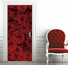 Msrahves Poster per Porte Rosa fiore rosso Carta