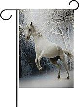 MUMIMI Bandiera da Giardino con Cavallo Bianco,