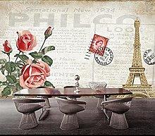 Murale da parete con sfondo rosso con rose rosse