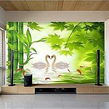 Murale personalizzato Lago dei cigni Foresta di