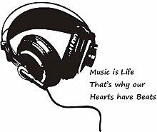 Music Is Life Cuffia Adesivo Murale Decorazioni