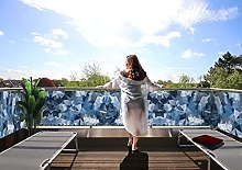 MyMaxxi Protezione per balcone Premium | Cammo blu