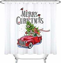 Natale rosso retrò camion abete bassotto Stampa
