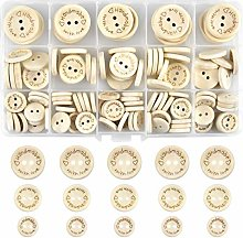 NATUCE Bottoni di Legno, 140 Pezzi Bottoni Legno