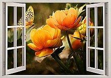 Natura Fiore Farfalla Bellezza Effetto 3D Finestra