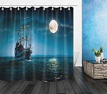 Nave pirata oceanica a vela notturna Stampa HD,