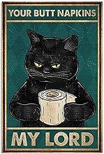 Nero Cat Holding Tovaglioli Retro Metal Sign