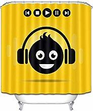 Nero piccolo uomo cuffia musica giallo semplice