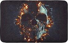 Nero Skull Flames E Embers Frontale Cucina Tappeto