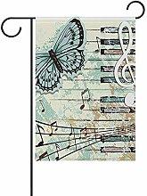 Note Musicali grafiche a Farfalla con Pianoforte