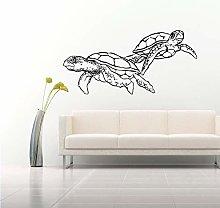 Nuoto Tartaruga Doppio Art Design Adesivo Da