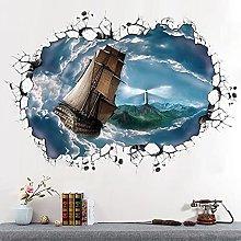 Nuovo 3d mare di nuvole a vela grandi adesivi