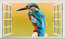 NYJNN 3D adesivi murali Kingfisher 3D Magic Window