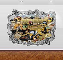 NYJNN Adesivi murali 3D Trattori Escavatori