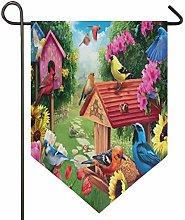 Oarencol - Bandiera da giardino con uccelli,