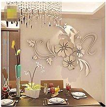 ODJOY-FAN 3D Mirror Floral Art Adesivo da Parete