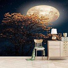 OHEHE Adesivo Murale Luna grande albero gialla