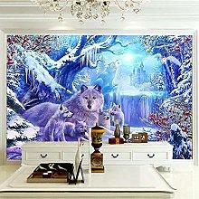 OHEHE Adesivo Murale Lupo animale scena di neve