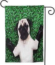 OMNVEQ Bandiera da Giardino Cool Pug Dog Yoga Posa
