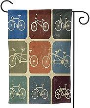 OMNVEQ Bandiera da Giardino Fila di Biciclette