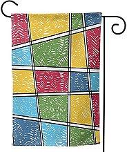 OMNVEQ Bandiera da Giardino Toni Geometrici Banner