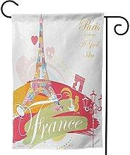 OMNVEQ Bandiera da Giardino Torre Eiffel 55 Banner