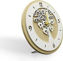 Orologio Tondo in Ecopelle con Applicazione in
