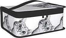 OUCSSDLTD Borsa per il pranzo con gatto grigio per