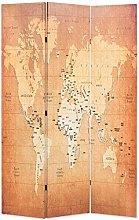 OUSEE Paravento Pieghevole 120x170 cm Stampa Mappa