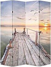 OUSEE Paravento Pieghevole 160x170 cm Stampa Lago