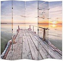 OUSEE Paravento Pieghevole 200x170 cm Stampa Lago