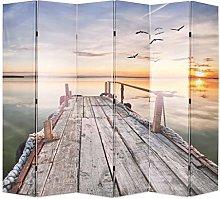 OUSEE Paravento Pieghevole 228x170 cm Stampa Lago