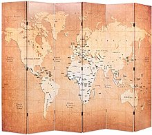 OUSEE Paravento Pieghevole 228x170 cm Stampa Mappa