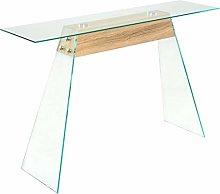 Oushome Tavolino Consolle in MDF e Vetro 120x30x76