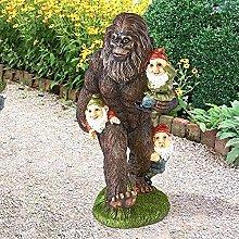 oxskk Bigfoot E Gnomi Statue da Giardino,Sasquatč
