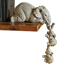oxskk Elefante Sitter Figura,Insieme di 3 Resina